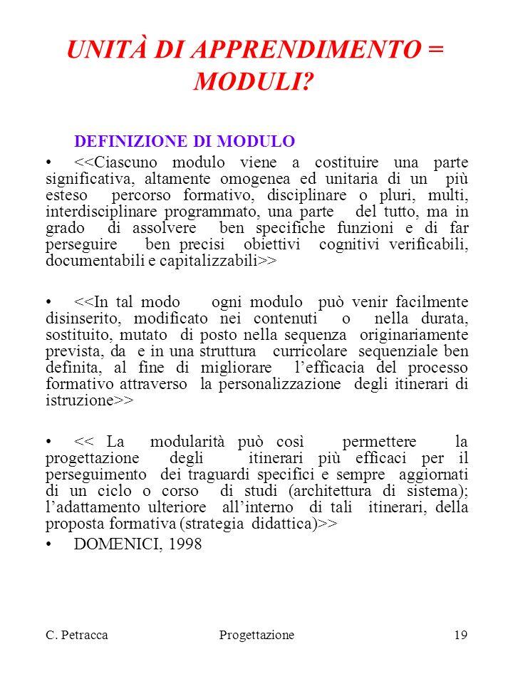 C. PetraccaProgettazione19 UNITÀ DI APPRENDIMENTO = MODULI? DEFINIZIONE DI MODULO > DOMENICI, 1998