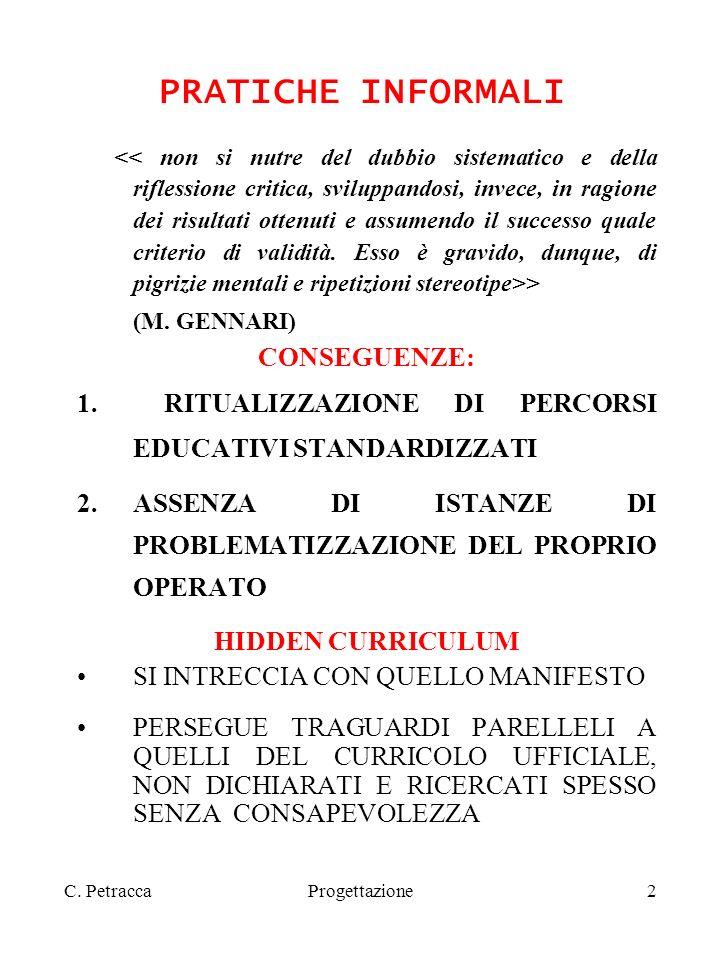 Progettazione2 PRATICHE INFORMALI > (M. GENNARI) CONSEGUENZE: 1.RITUALIZZAZIONE DI PERCORSI EDUCATIVI STANDARDIZZATI 2.ASSENZA DI ISTANZE DI PROBLEMAT