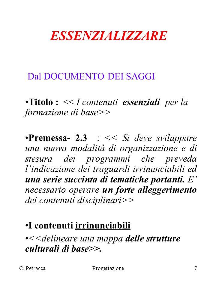 C. PetraccaProgettazione7 ESSENZIALIZZARE Dal DOCUMENTO DEI SAGGI Titolo : > Premessa- 2.3 : > I contenuti irrinunciabili >.