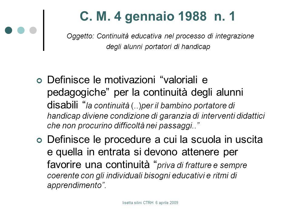 C. M. 4 gennaio 1988 n. 1 Oggetto: Continuità educativa nel processo di integrazione degli alunni portatori di handicap Definisce le motivazioni valor