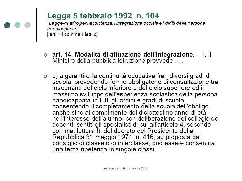 lisetta silini CTRH 6 aprile 2009 Legge 5 febbraio 1992 n. 104