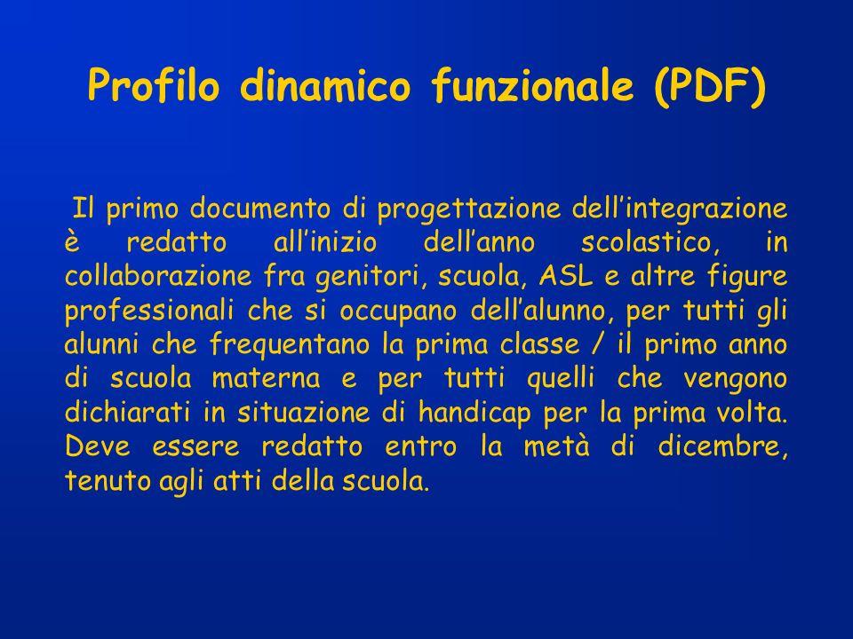 Profilo dinamico funzionale (PDF) Il primo documento di progettazione dellintegrazione è redatto allinizio dellanno scolastico, in collaborazione fra