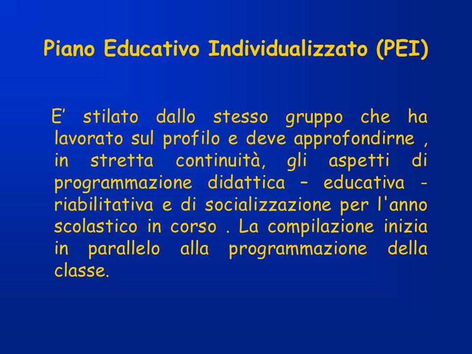 Piano Educativo Individualizzato (PEI) E stilato dallo stesso gruppo che ha lavorato sul profilo e deve approfondirne, in stretta continuità, gli aspe