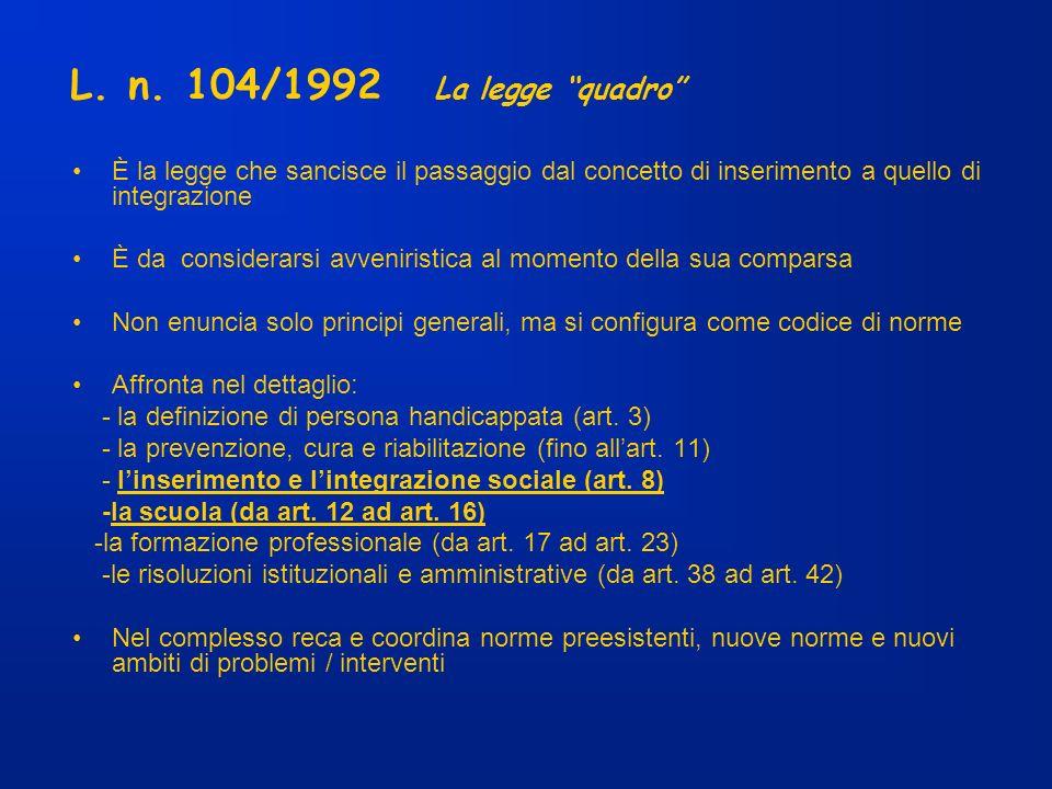L. n. 104/1992 La legge quadro È la legge che sancisce il passaggio dal concetto di inserimento a quello di integrazione È da considerarsi avveniristi