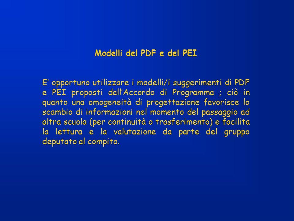 Modelli del PDF e del PEI E opportuno utilizzare i modelli/i suggerimenti di PDF e PEI proposti dallAccordo di Programma ; ciò in quanto una omogeneit