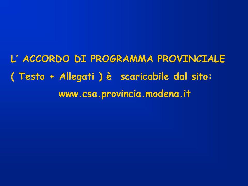 L ACCORDO DI PROGRAMMA PROVINCIALE ( Testo + Allegati ) è scaricabile dal sito: www.csa.provincia.modena.it