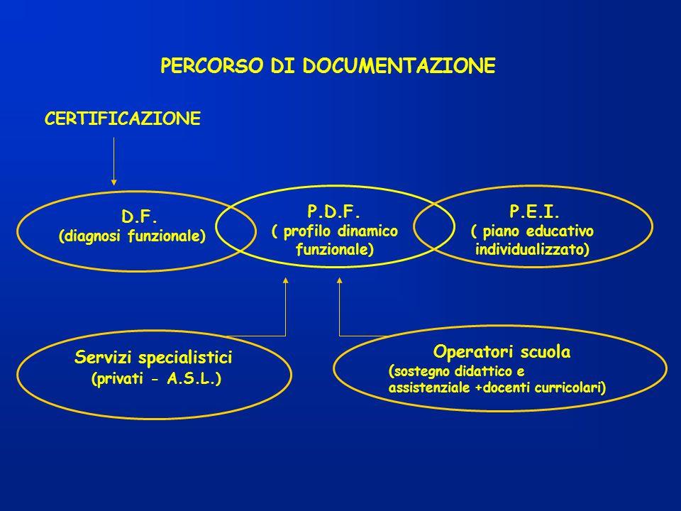 PERCORSO DI DOCUMENTAZIONE CERTIFICAZIONE D.F. (diagnosi funzionale) P.D.F. ( profilo dinamico funzionale) P.E.I. ( piano educativo individualizzato)