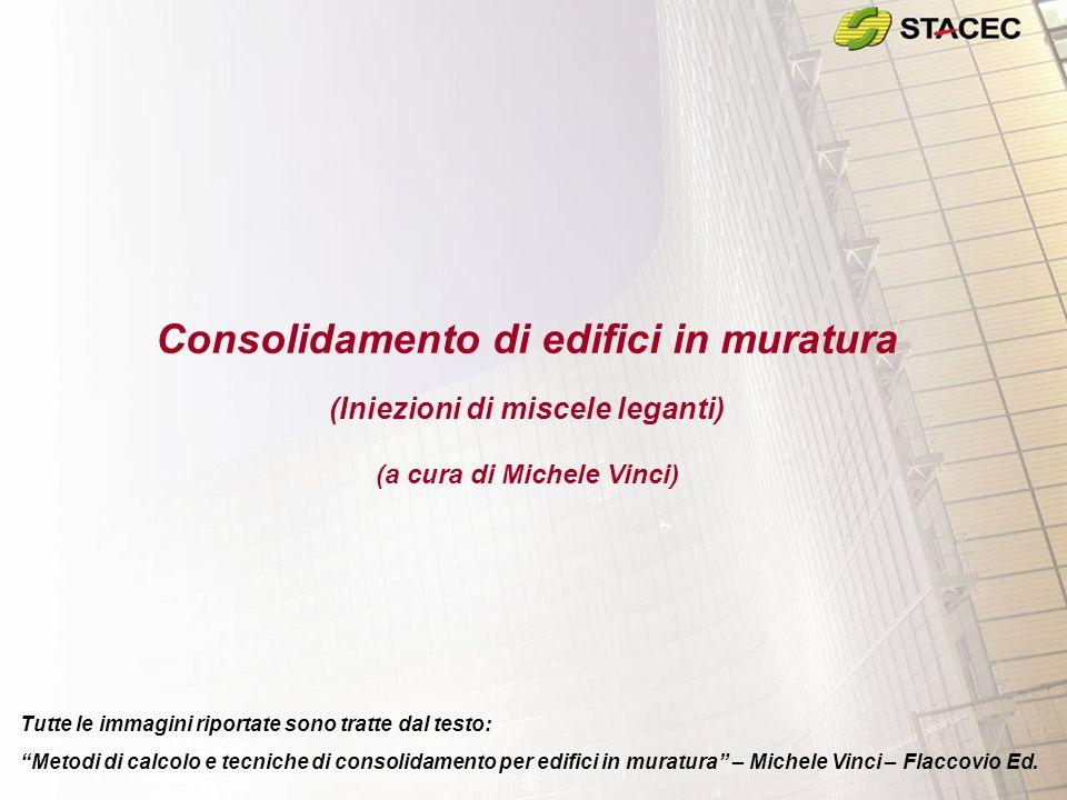 Consolidamento di edifici in muratura (Iniezioni di miscele leganti) (a cura di Michele Vinci) Tutte le immagini riportate sono tratte dal testo: Meto