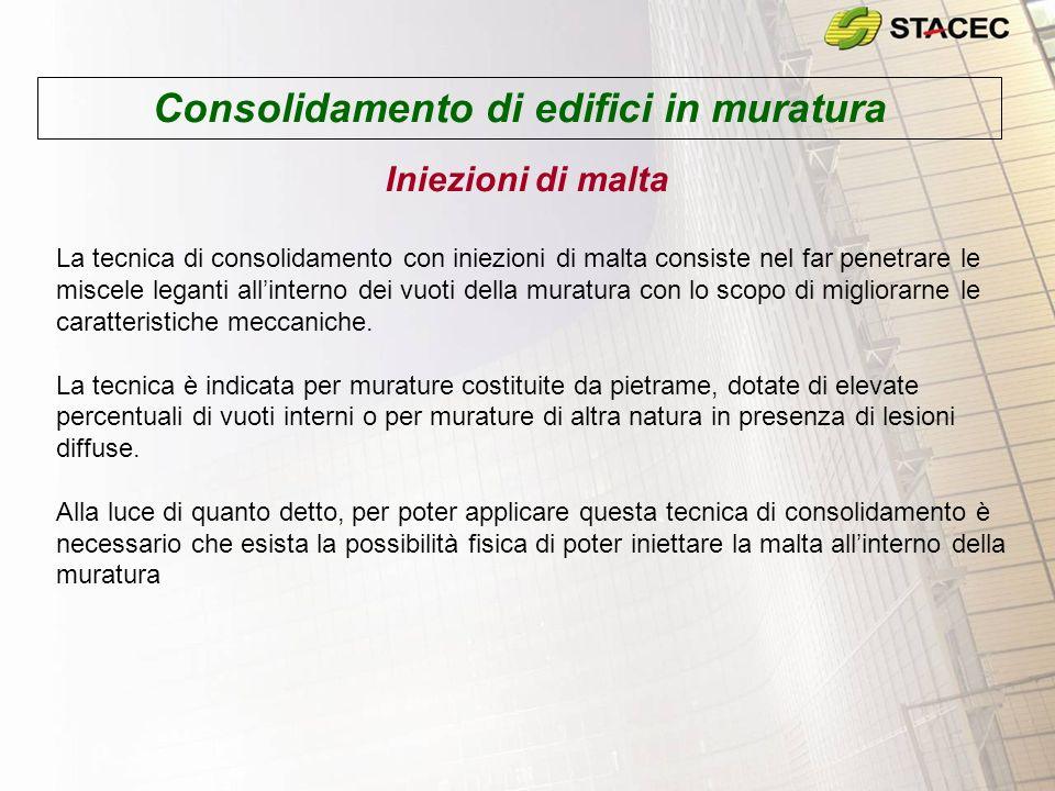 Consolidamento di edifici in muratura Iniezioni di malta La tecnica di consolidamento con iniezioni di malta consiste nel far penetrare le miscele leg