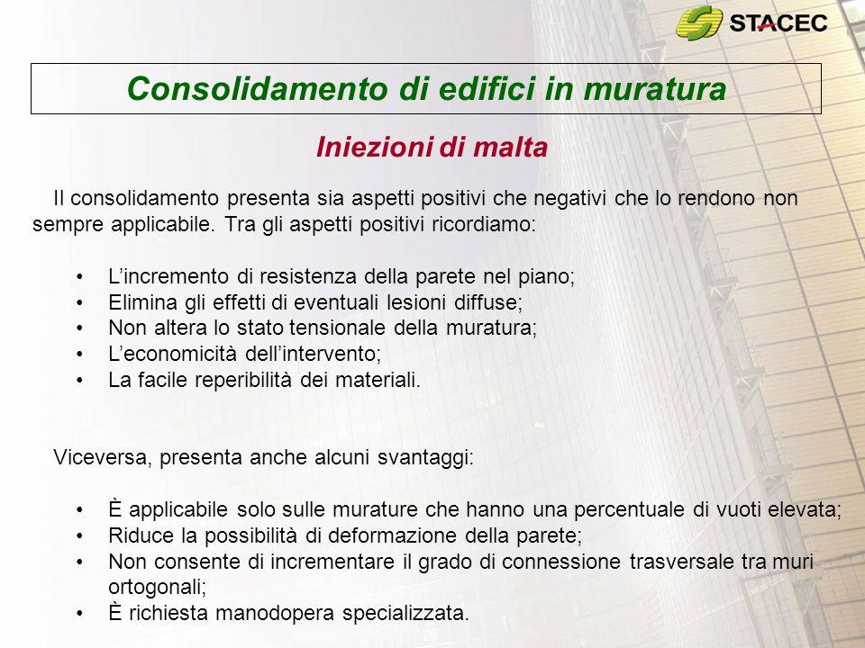 Consolidamento di edifici in muratura Iniezioni di malta –Tecnica di esecuzione Lesecuzione del consolidamento avviene attraverso le seguenti fasi successive: Fase A.
