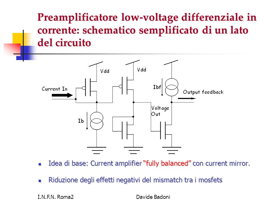 I.N.F.N. Roma2Davide Badoni Preamplificatore low-voltage differenziale in corrente: schematico semplificato di un lato del circuito Idea di base: Curr