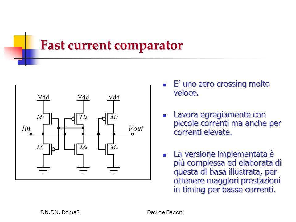 I.N.F.N. Roma2Davide Badoni Fast current comparator E uno zero crossing molto veloce. E uno zero crossing molto veloce. Lavora egregiamente con piccol
