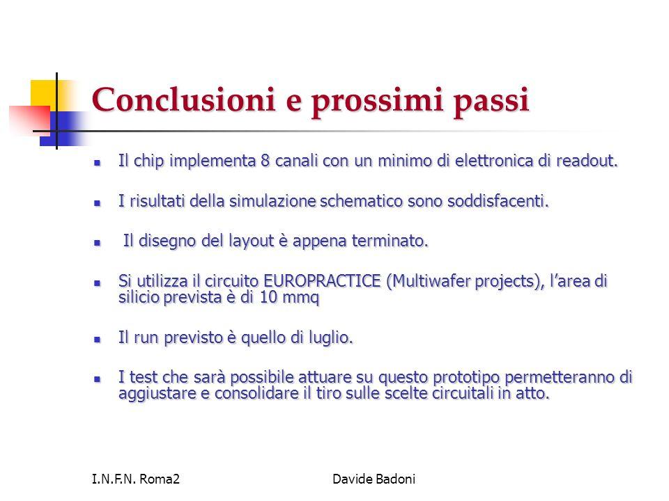 I.N.F.N. Roma2Davide Badoni Conclusioni e prossimi passi Il chip implementa 8 canali con un minimo di elettronica di readout. Il chip implementa 8 can