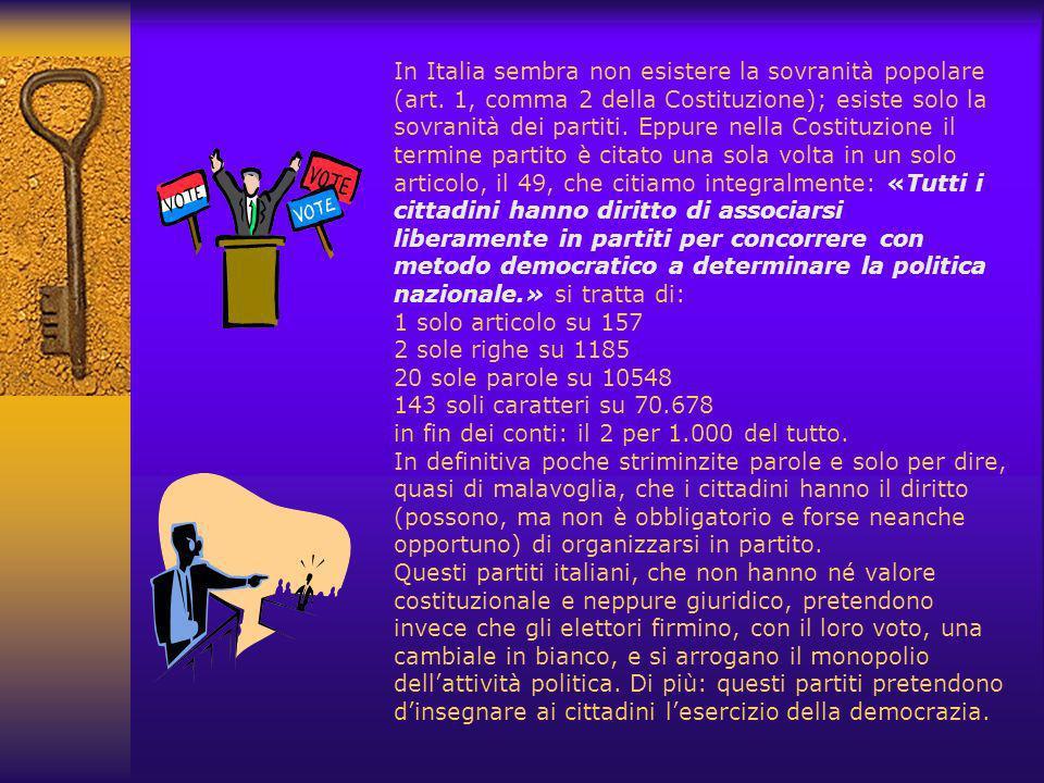 In Italia sembra non esistere la sovranità popolare (art.