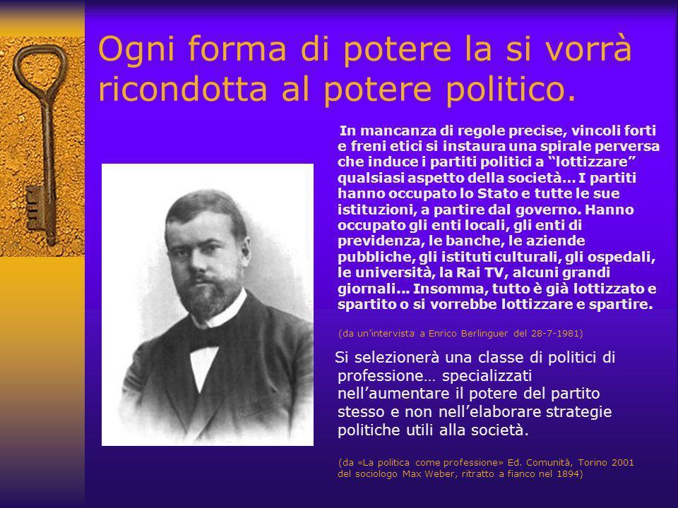 Ogni forma di potere la si vorrà ricondotta al potere politico.