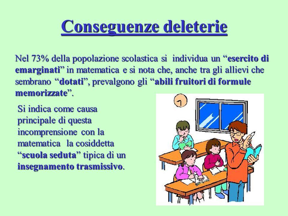 Conseguenze deleterie Nel 73% della popolazione scolastica si individua un esercito di emarginati in matematica e si nota che, anche tra gli allievi c