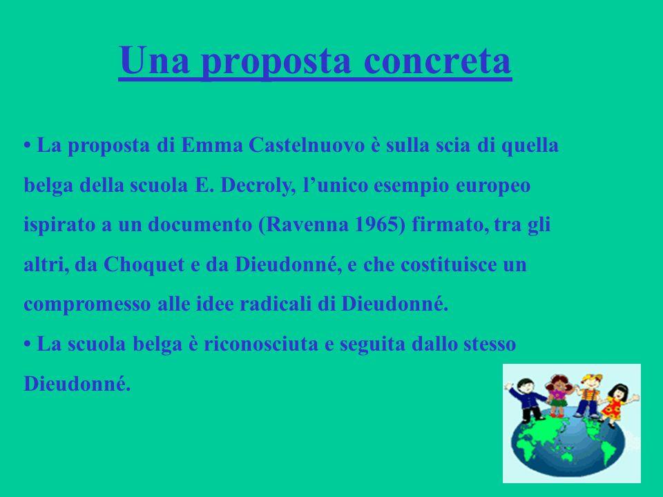 Una proposta concreta La proposta di Emma Castelnuovo è sulla scia di quella belga della scuola E. Decroly, lunico esempio europeo ispirato a un docum