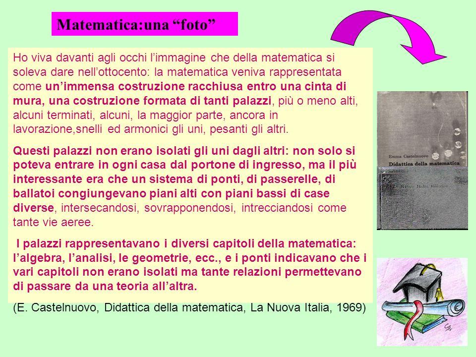 Ho viva davanti agli occhi limmagine che della matematica si soleva dare nellottocento: la matematica veniva rappresentata come unimmensa costruzione
