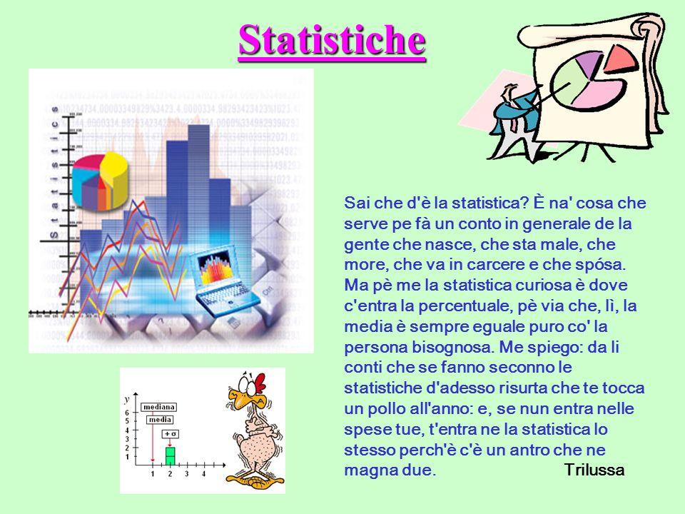 Statistiche Sai che d'è la statistica? È na' cosa che serve pe fà un conto in generale de la gente che nasce, che sta male, che more, che va in carcer