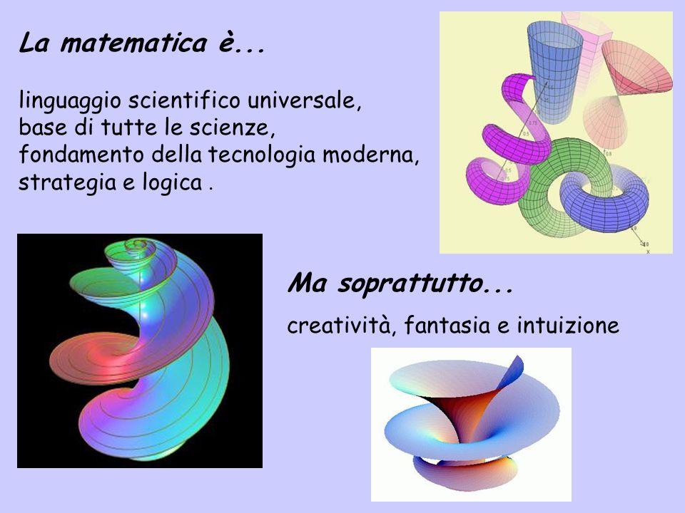 La matematica è... linguaggio scientifico universale, base di tutte le scienze, fondamento della tecnologia moderna, strategia e logica. Ma soprattutt