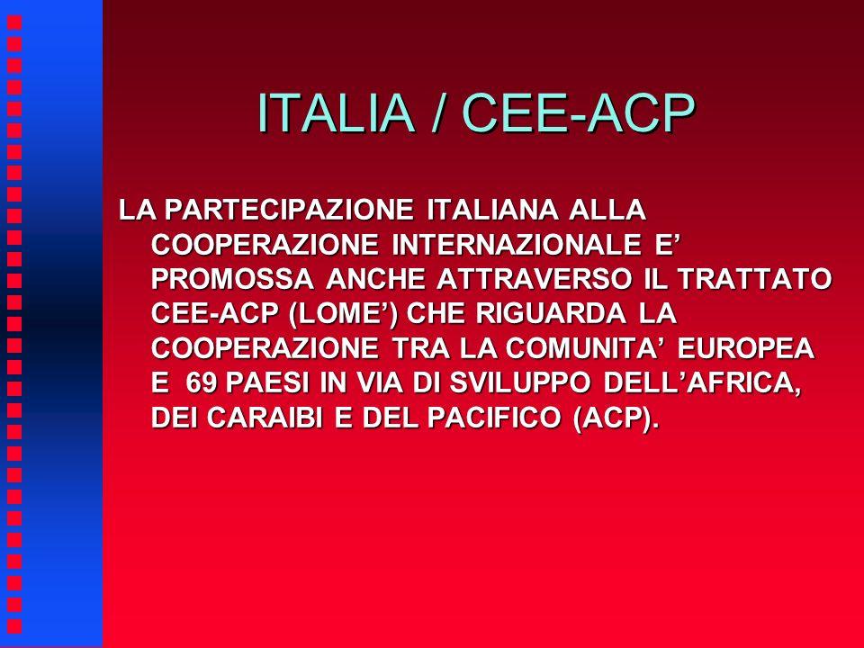ITALIA / CEE-ACP LA PARTECIPAZIONE ITALIANA ALLA COOPERAZIONE INTERNAZIONALE E PROMOSSA ANCHE ATTRAVERSO IL TRATTATO CEE-ACP (LOME) CHE RIGUARDA LA CO