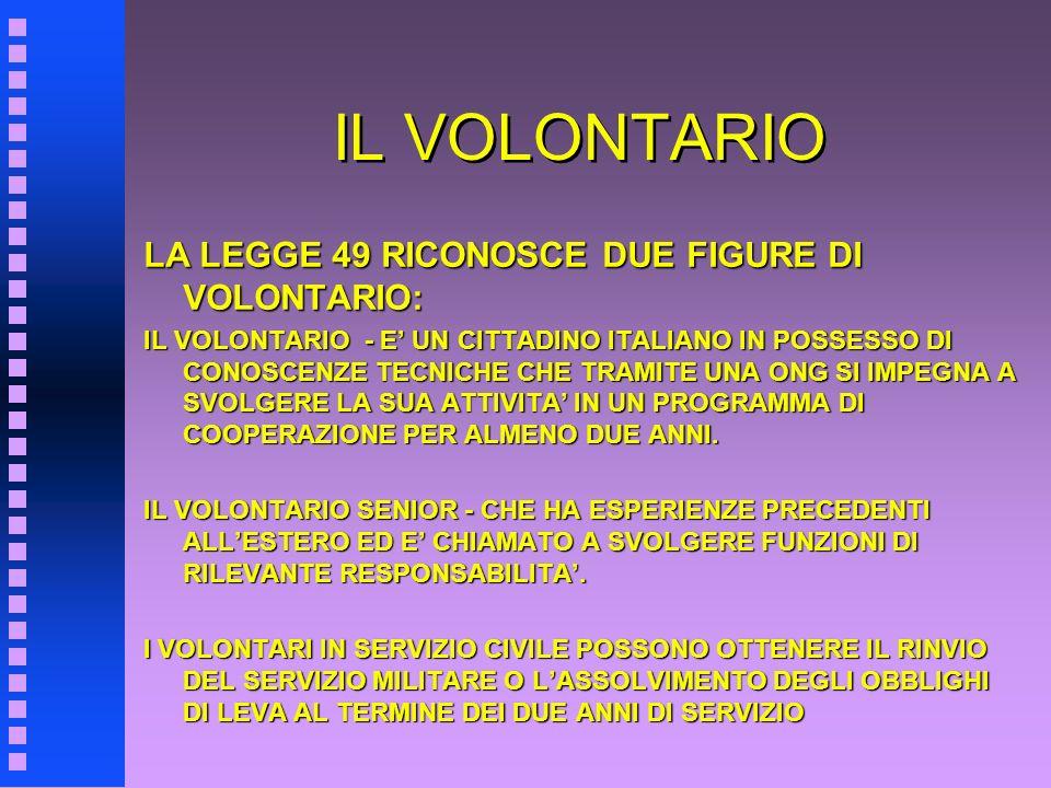 IL VOLONTARIO LA LEGGE 49 RICONOSCE DUE FIGURE DI VOLONTARIO: IL VOLONTARIO - E UN CITTADINO ITALIANO IN POSSESSO DI CONOSCENZE TECNICHE CHE TRAMITE U