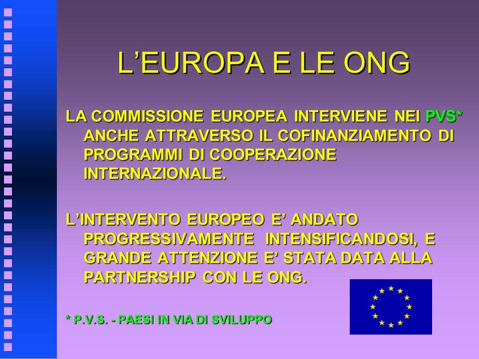 LEUROPA E LE ONG LA COMMISSIONE EUROPEA INTERVIENE NEI PVS* ANCHE ATTRAVERSO IL COFINANZIAMENTO DI PROGRAMMI DI COOPERAZIONE INTERNAZIONALE. LINTERVEN
