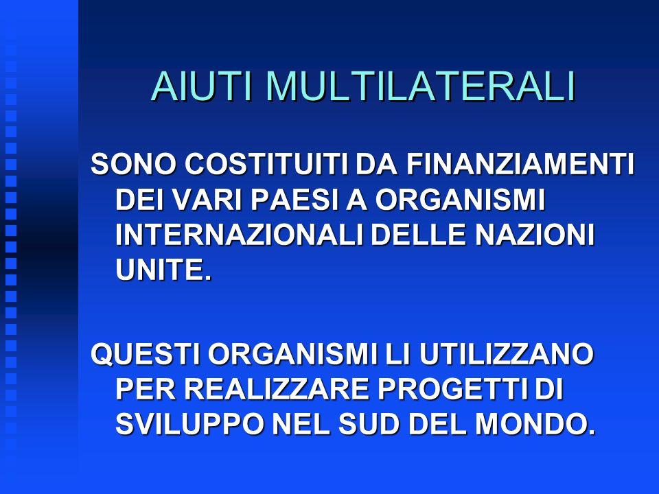 AIUTI MULTILATERALI SONO COSTITUITI DA FINANZIAMENTI DEI VARI PAESI A ORGANISMI INTERNAZIONALI DELLE NAZIONI UNITE. QUESTI ORGANISMI LI UTILIZZANO PER