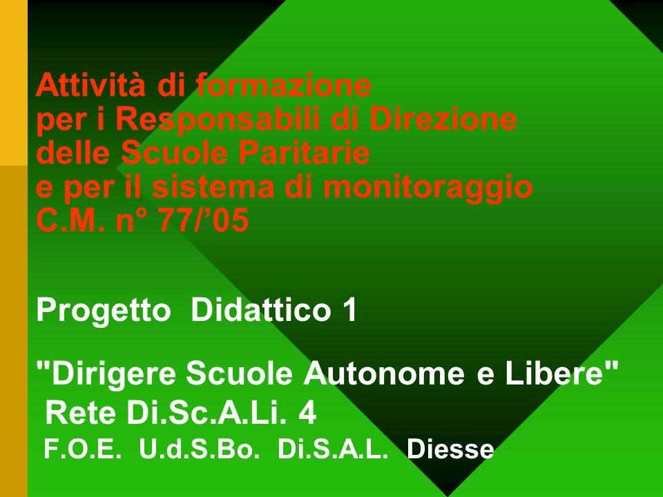 Attività di formazione per i Responsabili di Direzione delle Scuole Paritarie e per il sistema di monitoraggio C.M. n° 77/05 Progetto Didattico 1