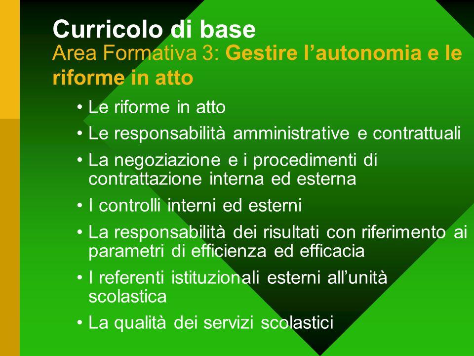 Curricolo di base Area Formativa 3: Gestire lautonomia e le riforme in atto Le riforme in atto Le responsabilità amministrative e contrattuali La nego