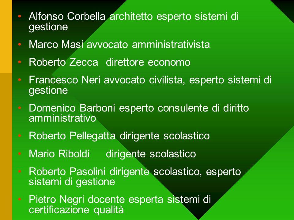 Alfonso Corbella architetto esperto sistemi di gestione Marco Masi avvocato amministrativista Roberto Zeccadirettore economo Francesco Neri avvocato c