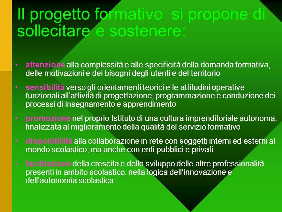 Il progetto formativo si propone di sollecitare e sostenere: attenzione alla complessità e alle specificità della domanda formativa, delle motivazioni