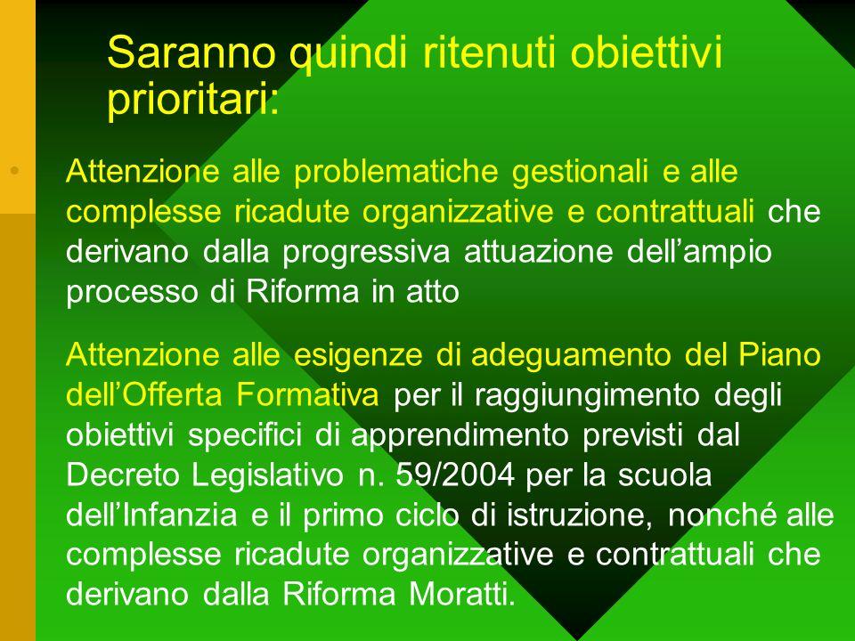 Saranno quindi ritenuti obiettivi prioritari: Attenzione alle problematiche gestionali e alle complesse ricadute organizzative e contrattuali che deri