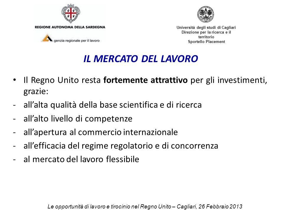 Università degli studi di Cagliari Direzione per la ricerca e il territorio Sportello Placement IL MERCATO DEL LAVORO Il Regno Unito resta fortemente