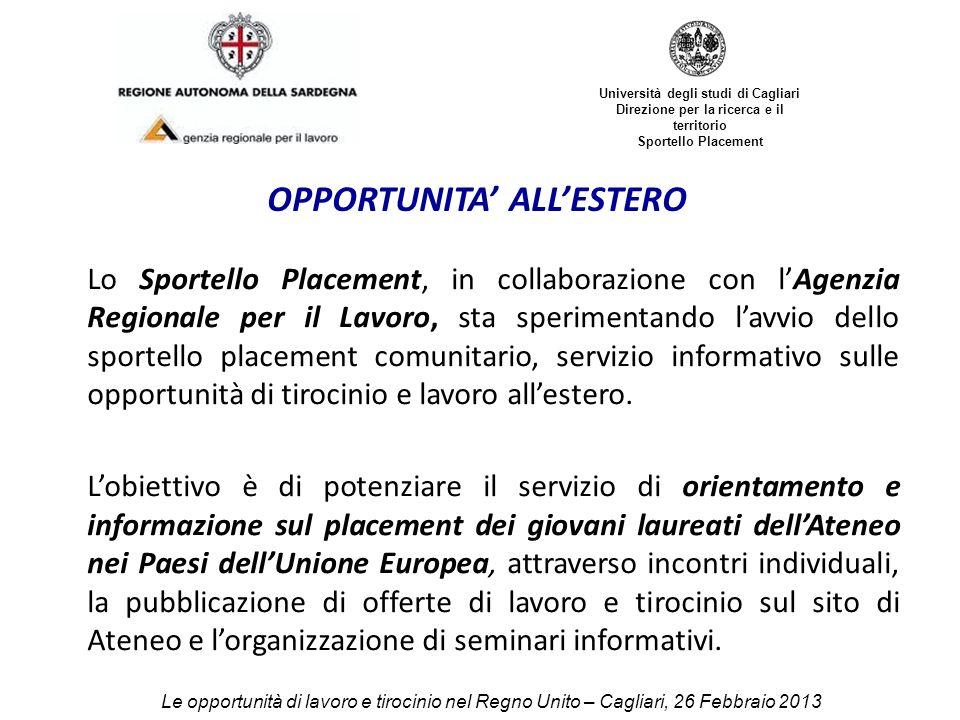 Università degli studi di Cagliari Direzione per la ricerca e il territorio Sportello Placement REGNO UNITO (UK) Le opportunità di lavoro e tirocinio nel Regno Unito – Cagliari, 26 Febbraio 2013