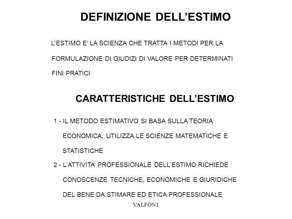 VALFOND2 DEFINIZIONE DI CRITERIO DI STIMA (ASPETTO ECONOMICO) PER CRITERIO DI STIMA SI INTENDE IL MODELLO DI VALUTAZIONE, VALE A DIRE LO SCHEMA LOGICO CHE SI DEVE SEGUIRE NELLO SVOLGIMANTO DELLA STIMA DEFINIZIONE DI PROCEDIMENTO DI STIMA PER PROCEDIMENTO DI STIMA SI INTENDE IL COMPLESSO DELLE OPERAZIONI MESSO IN ATTO PER SVOLGERE LO SCHEMA LOGICO, OVVERO IL CRITERIO DI STIMA RELAZIONE FRA CRITERIO E PROCEDIMENTO IL CRITERIO DI STIMA (ASPETTO ECONOMICO) HA UNA VALIDITA GENERALE ED AMMETTE DIVERSI MODI DI SOLUZIONE OVVERO DIVERSI PROCEDIMENTI DI STIMA