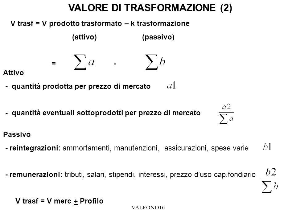 VALFOND16 VALORE DI TRASFORMAZIONE (2) V trasf = V prodotto trasformato – k trasformazione (attivo) (passivo) = - Attivo - quantità prodotta per prezz