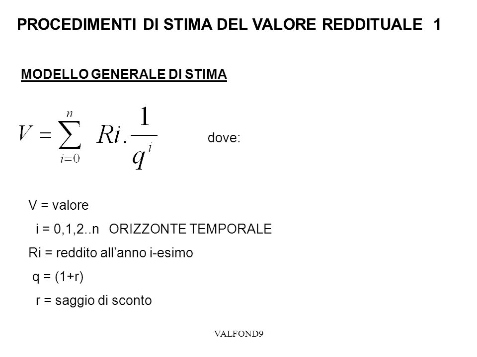VALFOND9 PROCEDIMENTI DI STIMA DEL VALORE REDDITUALE 1 MODELLO GENERALE DI STIMA dove: V = valore i = 0,1,2..n ORIZZONTE TEMPORALE Ri = reddito allann