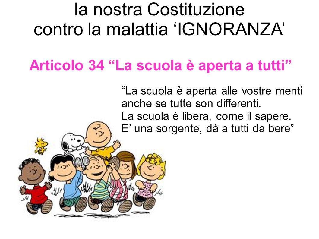 la nostra Costituzione contro la malattia IGNORANZA Articolo 34 La scuola è aperta a tutti La scuola è aperta alle vostre menti anche se tutte son dif