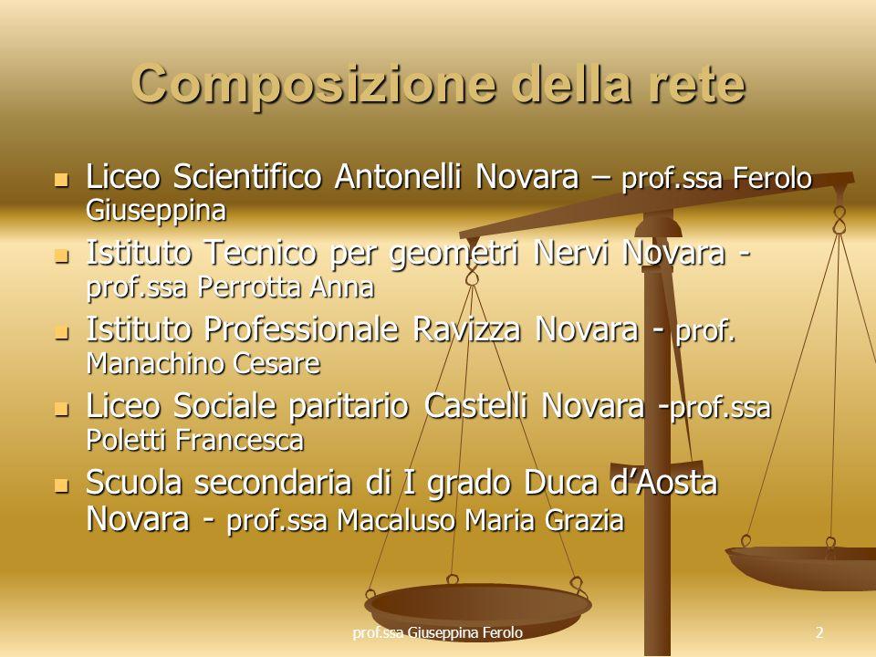 prof.ssa Giuseppina Ferolo3 Fase 1 Formazione e autoformazione Gli incontri di formazione, realizzati in collaborazione con lIstituto storico di Novara, (ad es.