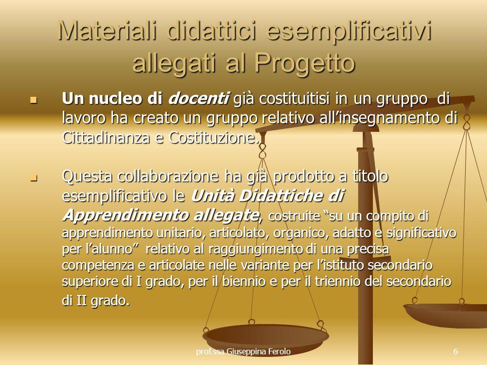 prof.ssa Giuseppina Ferolo7 Nuclei tematici e obiettivi di apprendimento esemplificativi La comunità scolastica a) Il sistema scolastico italiano; b) Le funzioni delle norme e delle regole.