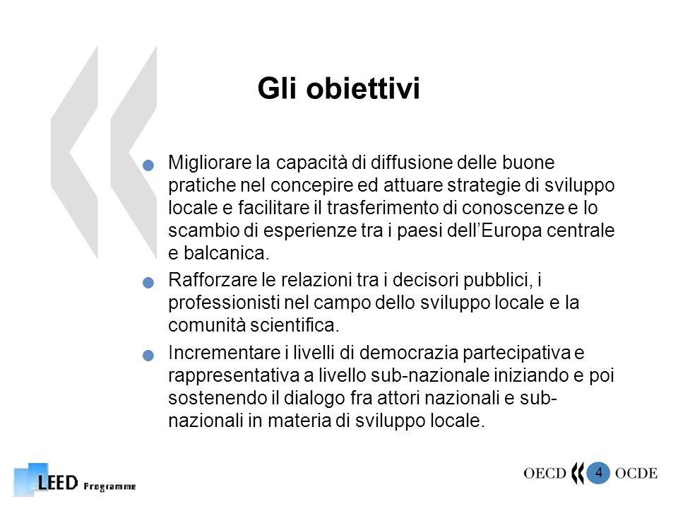 4 Gli obiettivi Migliorare la capacità di diffusione delle buone pratiche nel concepire ed attuare strategie di sviluppo locale e facilitare il trasferimento di conoscenze e lo scambio di esperienze tra i paesi dellEuropa centrale e balcanica.
