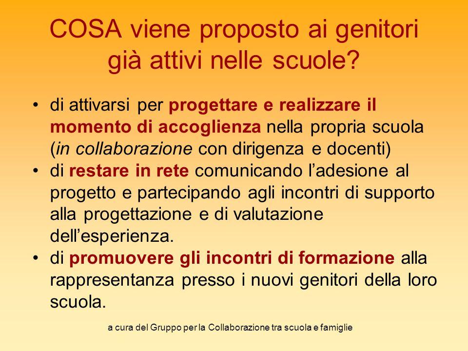 a cura del Gruppo per la Collaborazione tra scuola e famiglie COSA viene proposto ai genitori già attivi nelle scuole.