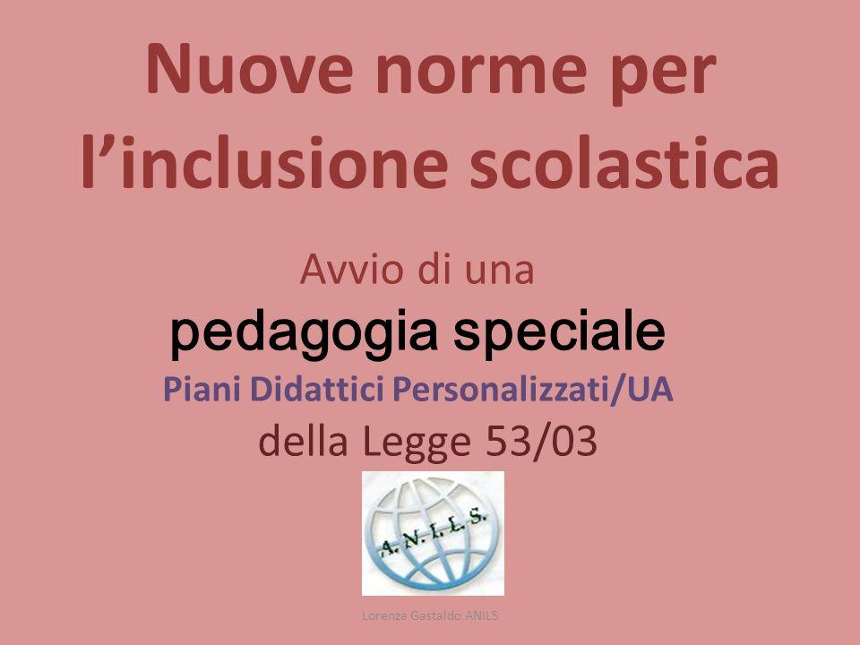 Nuove norme per linclusione scolastica Avvio di una pedagogia speciale Piani Didattici Personalizzati/UA della Legge 53/03 Lorenza Gastaldo ANILS