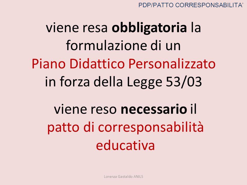 viene resa obbligatoria la formulazione di un Piano Didattico Personalizzato in forza della Legge 53/03 Lorenza Gastaldo ANILS viene reso necessario i