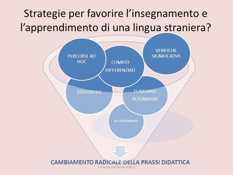 Strategie per favorire linsegnamento e lapprendimento di una lingua straniera? Lorenza Gastaldo ANILS CAMBIAMENTO RADICALE DELLA PRASSI DIDATTICA ACCO