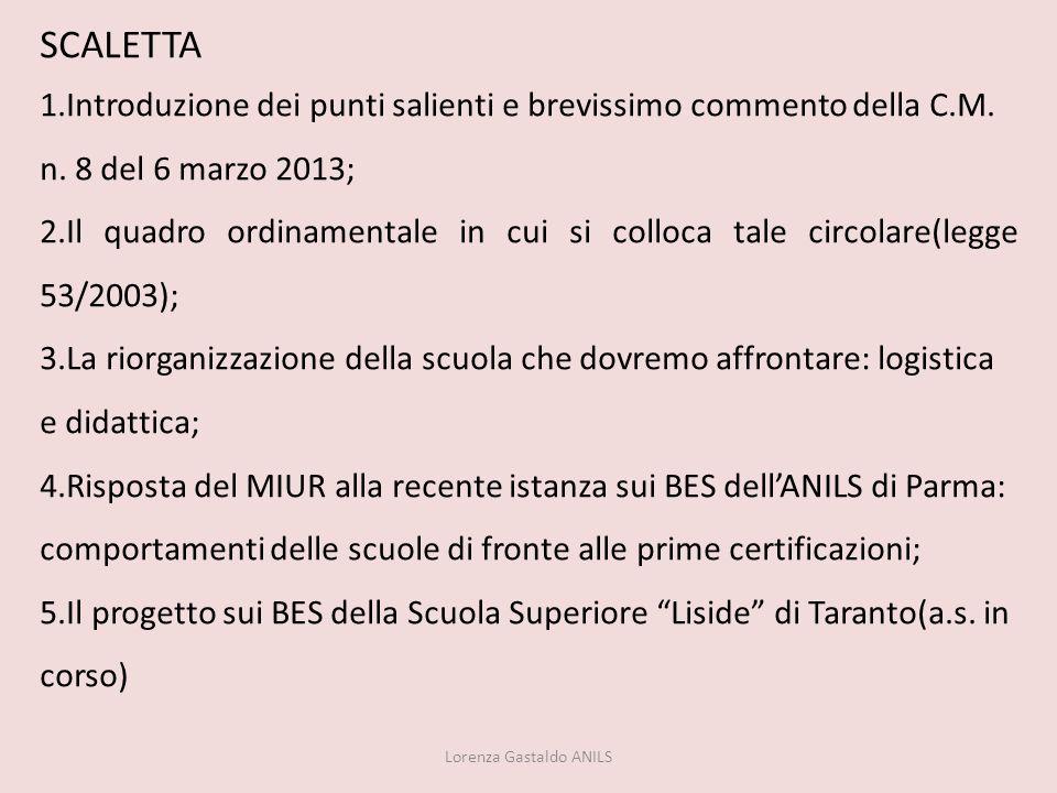 SCALETTA 1.Introduzione dei punti salienti e brevissimo commento della C.M. n. 8 del 6 marzo 2013; 2.Il quadro ordinamentale in cui si colloca tale ci