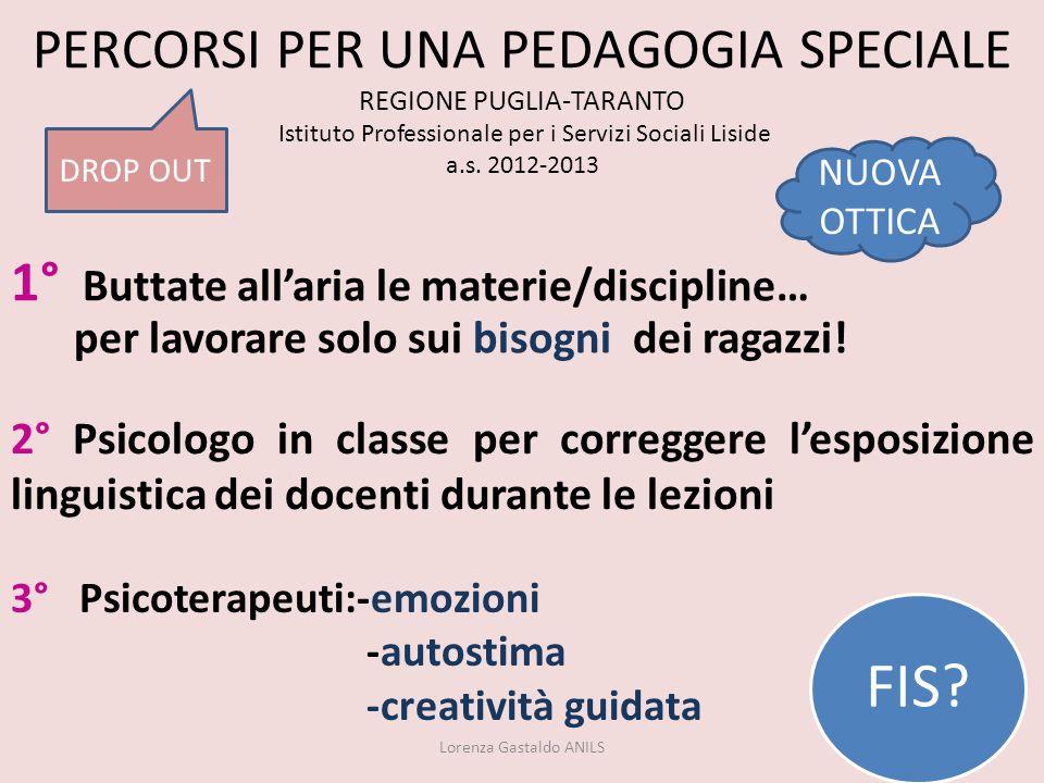 PERCORSI PER UNA PEDAGOGIA SPECIALE REGIONE PUGLIA-TARANTO Istituto Professionale per i Servizi Sociali Liside a.s. 2012-2013 Lorenza Gastaldo ANILS 2