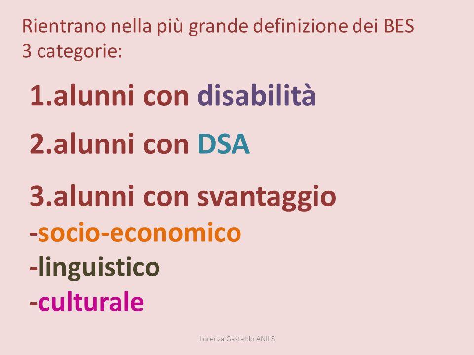 Rientrano nella più grande definizione dei BES 3 categorie: 1.alunni con disabilità 2.alunni con DSA 3.alunni con svantaggio -socio-economico -linguis