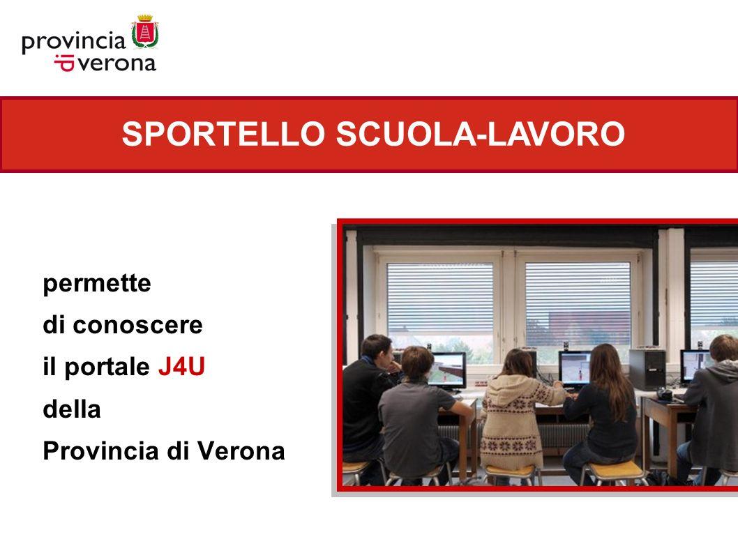 SPORTELLO SCUOLA-LAVORO permette di conoscere il portale J4U della Provincia di Verona